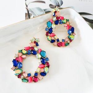 🍀🍀J. Crew Multi Color Flower Hoop Earrings